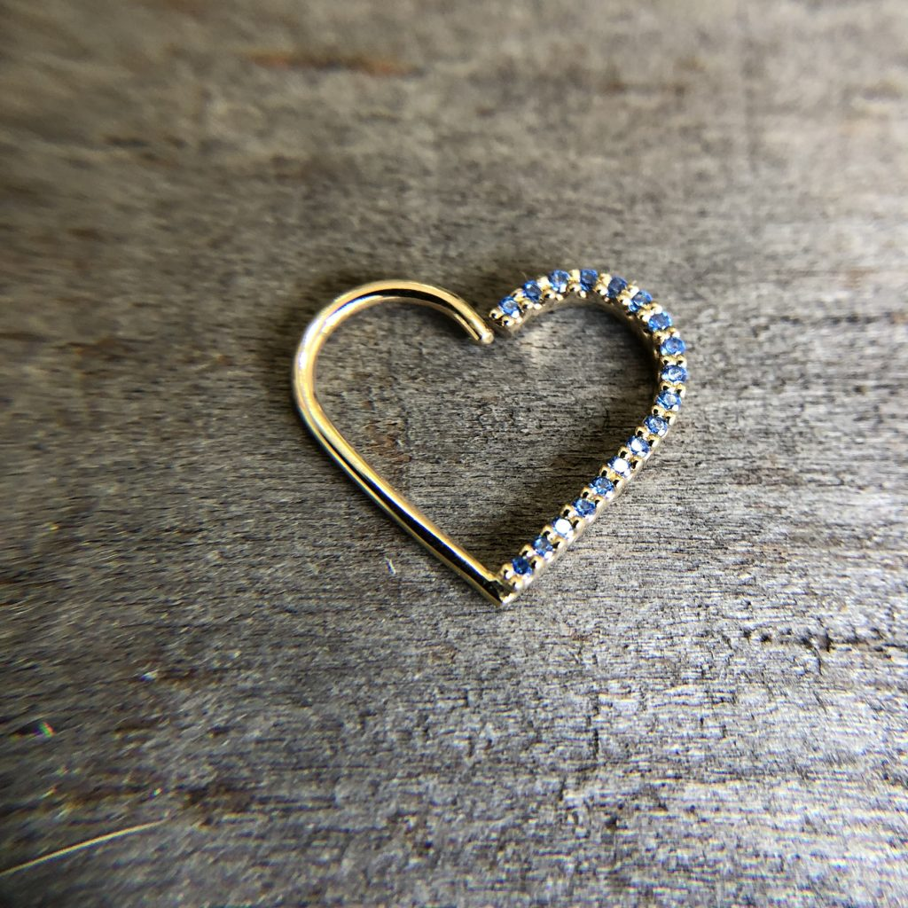 High quality body piercing jewelry shaped like a heart